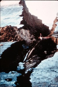 This photo shows the downstream slope of Fontenelle Dam, on the Green River in Wyoming, after a piping incident that threatened the safety of the dam in 1965. The piping was caused by water seeping through the right abutment of the dam.