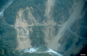 Notice the lush vegetation that remains wherever landsliding did not occur.