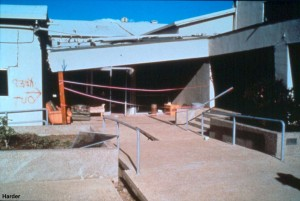 A closer view of the Marine Laboratory shows the structural damage due to the lateral spreading of its foundation.