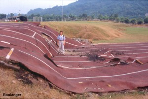 About 2 m of vertical offset developed where the thrust fault cut across this track field. Notice that the surface rupture is limited to a relatively narrow zone, with very little deformation of the ground surface on either side.